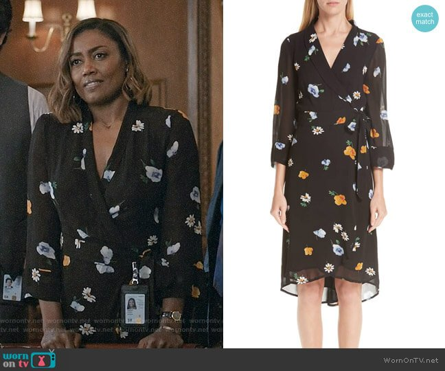 Daisy's floral wrap dress on Madam Secretary