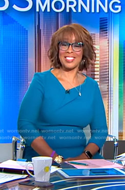 Gayle's blue asymmetric v-neck dress on CBS This Morning