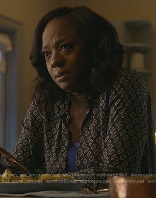Annalise's black cube print blouse on How to Get Away with Murder