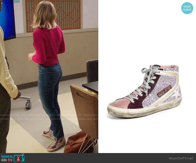 Golden Goose Slide Sneakers in Cyclamen/White worn by Kristen Bell on The Good Place