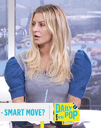 Morgan's gray puff shoulder short sleeve sweater on E! News Daily Pop