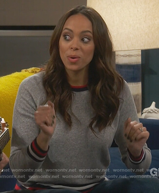 Claire's gray striped trim sweatshirt on Happy Together