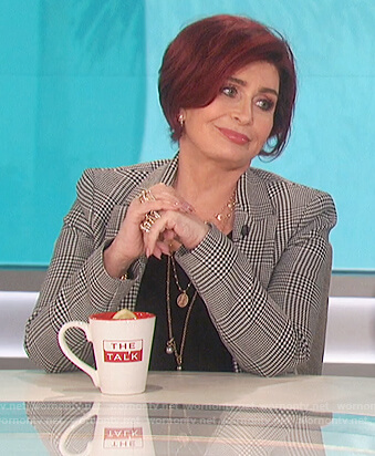 Sharon's gray plaid blazer on The Talk