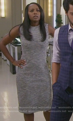 Michaela's gray tweed sheath dress on How to Get Away with Murder