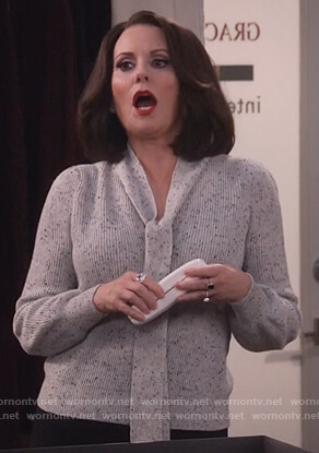 Karen's gray tie front sweater on Will and Grace