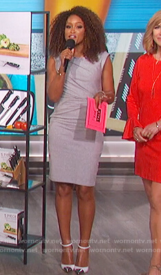 Eve's gray twist shoulder cutout dress on The Talk