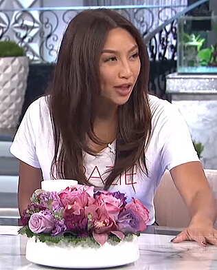 Jeannie's white Grazie print tee on The Real