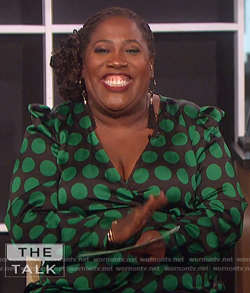 Sheryl's black and green polka dot top on The Talk