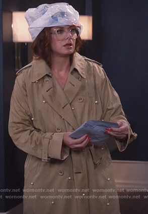 Grace's pearl embellished trench coat on Will and Grace