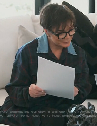Kris's green plaid shirt with denim collar on Keeping Up with the Kardashians