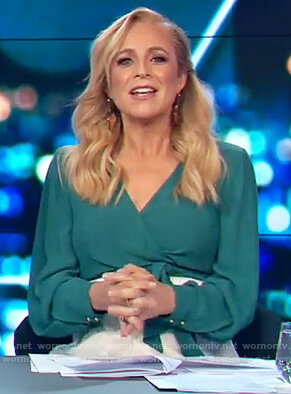 Carrie's green wrap top on The Project