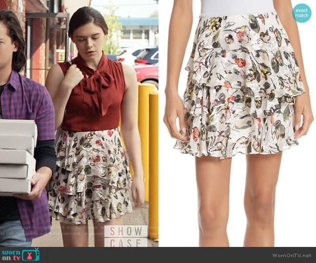 Jason Wu GREY Painterly Floral Print Skirt worn by Nia Nal (Nicole Maines) on Supergirl