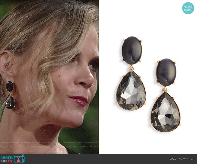 Halogen Gemstone Statement Double Drop Earrings worn by Phyllis Newman (Gina Tognoni) on The Young & the Restless
