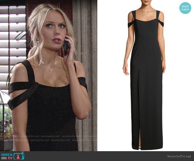 Halston Heritage Cold-Shoulder Fitted Crepe Gown worn by Abby Newman (Melissa Ordway) on The Young & the Restless
