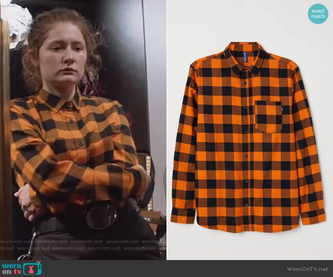 Checked Flannel Shirt by H&M worn by Emma Kenney on Shameless
