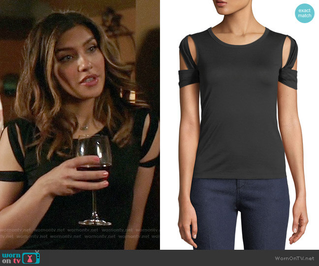 Helmut Lang Bondage Sleeve Tee worn by Juliana Harkavy on Arrow
