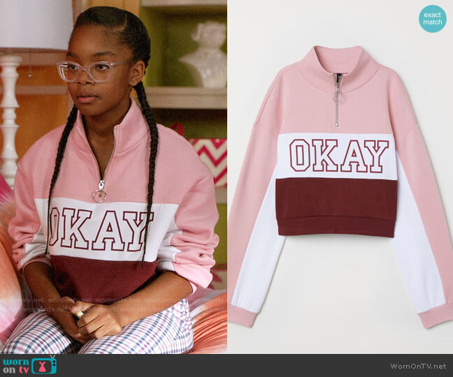 H&M Stand Up Collar Sweatshirt in Light Pink / Okay worn by Marsai Martin on Blackish
