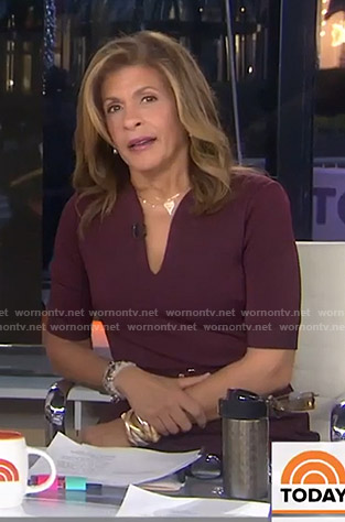 Hoda's burgundy belted dress on Today