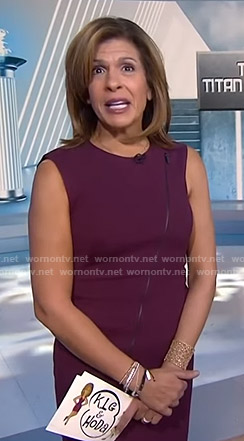 Hoda's purple zip front dress on Today