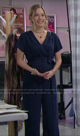 Hope's navy maternity jumpsuit on The Bold and the Beautiful