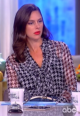 Abby's houndstooth silk ruffle blouse on The View