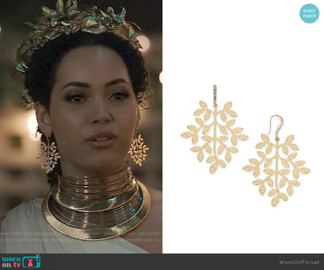 INC International Concepts Gold-Tone Leaf Drop Earrings worn by Macy Vaughn (Madeleine Mantock) on Charmed