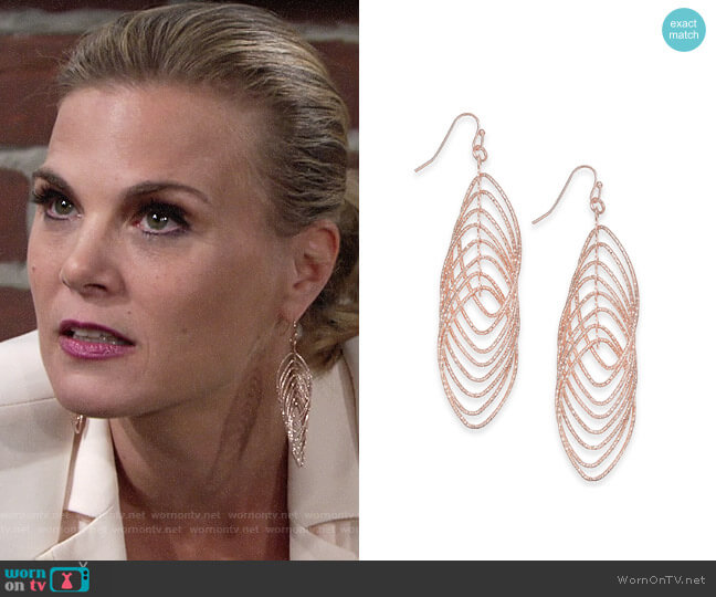 INC International Concepts Navette Multi-Ring Drop Earrings worn by Gina Tognoni on The Young & the Restless