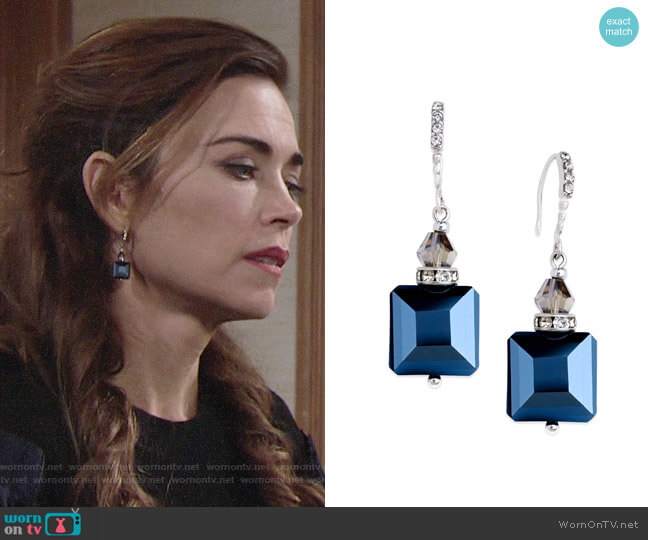 INC International Concepts Silver-Tone Jet Square Bead Drop Earrings worn by Victoria Newman (Amelia Heinle) on The Young & the Restless