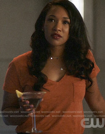 Iris's orange v-neck tee on The Flash