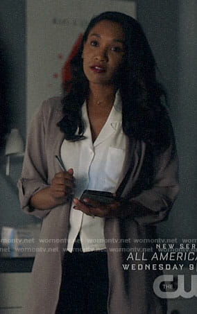 Iris's white button down blouse and taupe jacket on The Flash