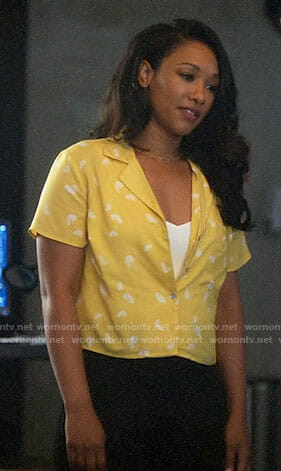 Iris's yellow fan print shirt on The Flash