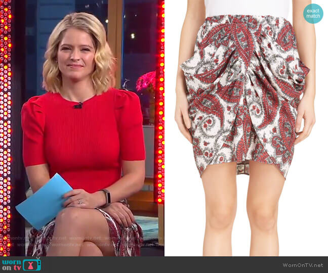 Tilena Skirt by Isabel Marant worn by Sara Haines on Good Morning America