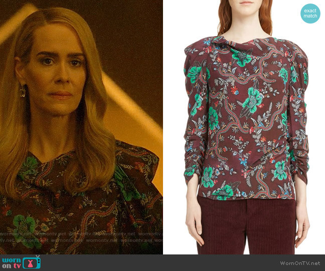 Isabel Marant Floral Print Ruched Sleeve Blouse worn by Cordelia Foxx (Sarah Paulson) on American Horror Story