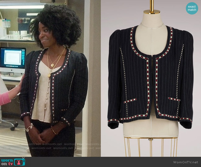 Isabel Marant Etoile Jilo Jacket worn by Simone Garnett (Kirby Howell-Baptiste) on The Good Place