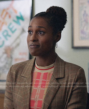 Issa's plaid blazer on Insecure
