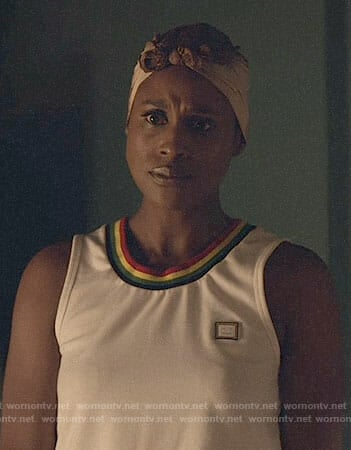 Issa's white striped trim tank top on Insecure