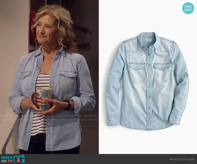 J. Crew Western shirt in light wash worn by Nancy Travis on Last Man Standing