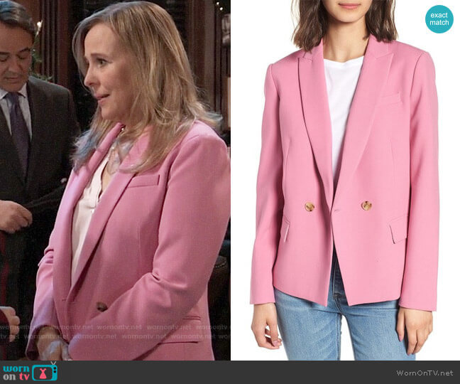 J. Crew Dover Blazer in Decorative Pink worn by Laura Collins (Genie Francis) on General Hospital