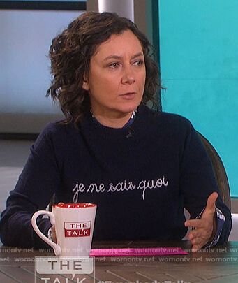 Sara's Je Ne Sais Quoi navy sweater on The Talk