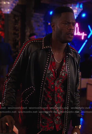 Jeff's red floral shirt and studded leather jacket on Dynasty