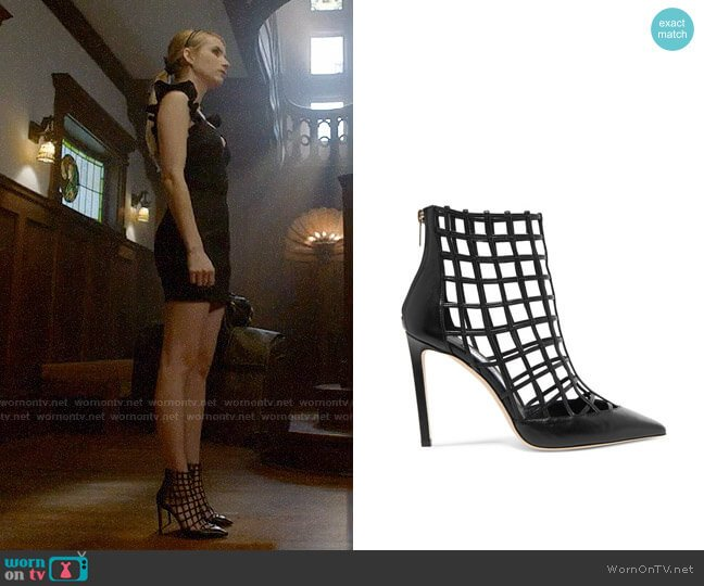 Jimmy Choo Sheldon Leather Cage Heels worn by Emma Roberts on American Horror Story