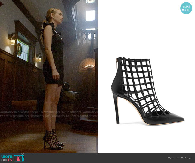 Jimmy Choo Sheldon Leather Cage Heels worn by Madison Montgomery (Emma Roberts) on American Horror Story