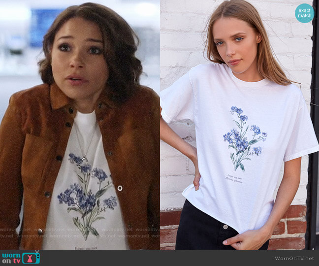 John Galt Forget Me Not T-Shirt worn by Jessica Parker Kennedy on The Flash