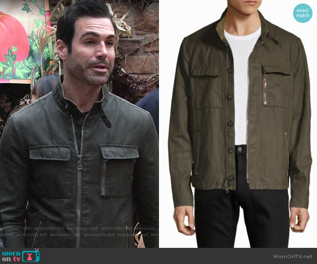 John Varvatos Mock Neck Utility Jacket worn by Jordi Vilasuso on The Young & the Restless