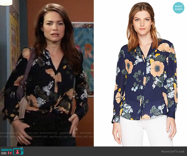 Joie Amarant Blouse worn by Rebecca Herbst on General Hospital