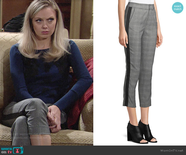 Joie Kenadia Plaid Crop Pants worn by Melissa Ordway on The Young & the Restless