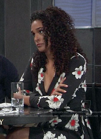 Jordan's black floral wrap dress on General Hospital