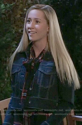 Josslyn's cropped denim jacket on General Hospital