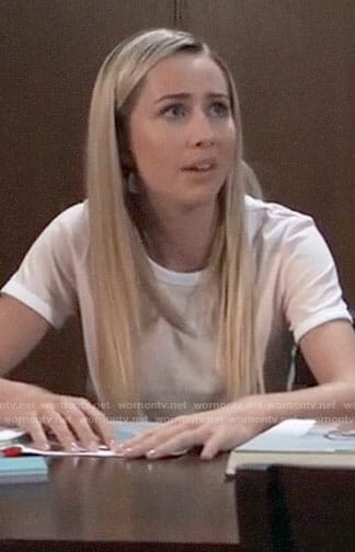 Josslyn's pink ringer tee on General Hospital