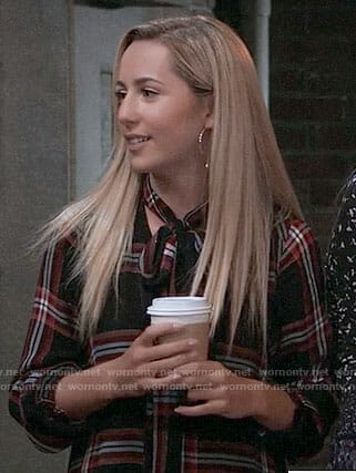 Josslyn's plaid tie-neck dress on General Hospital